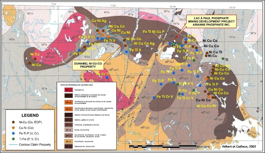 Marvel Duhamel Property Ni‐Cu‐Co and Fe‐Ti‐P‐V mineral occurrences on the Chute des Passes and Pipmuacan Areas modified from Hebert et Cadieux 2002.