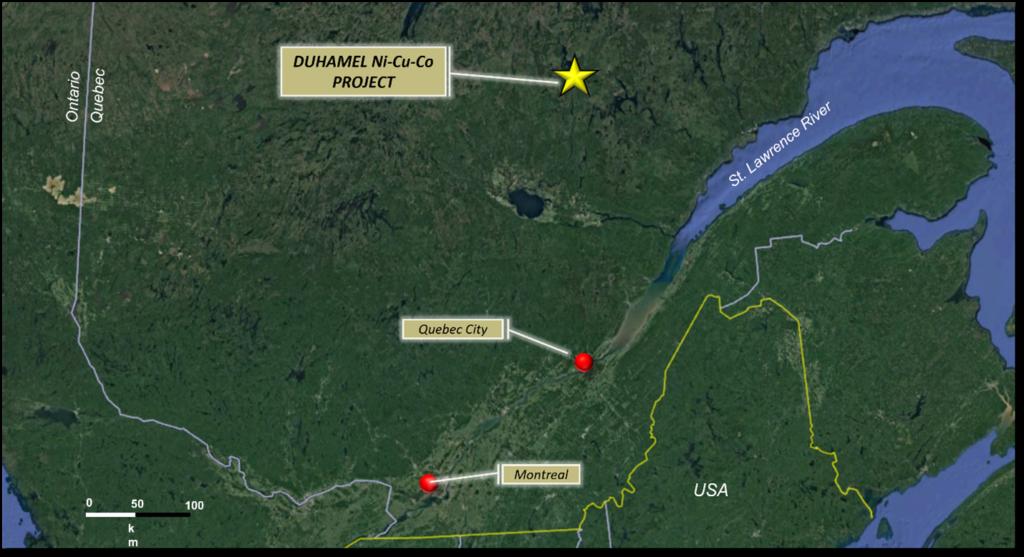 Regional location of the Duhamel Property