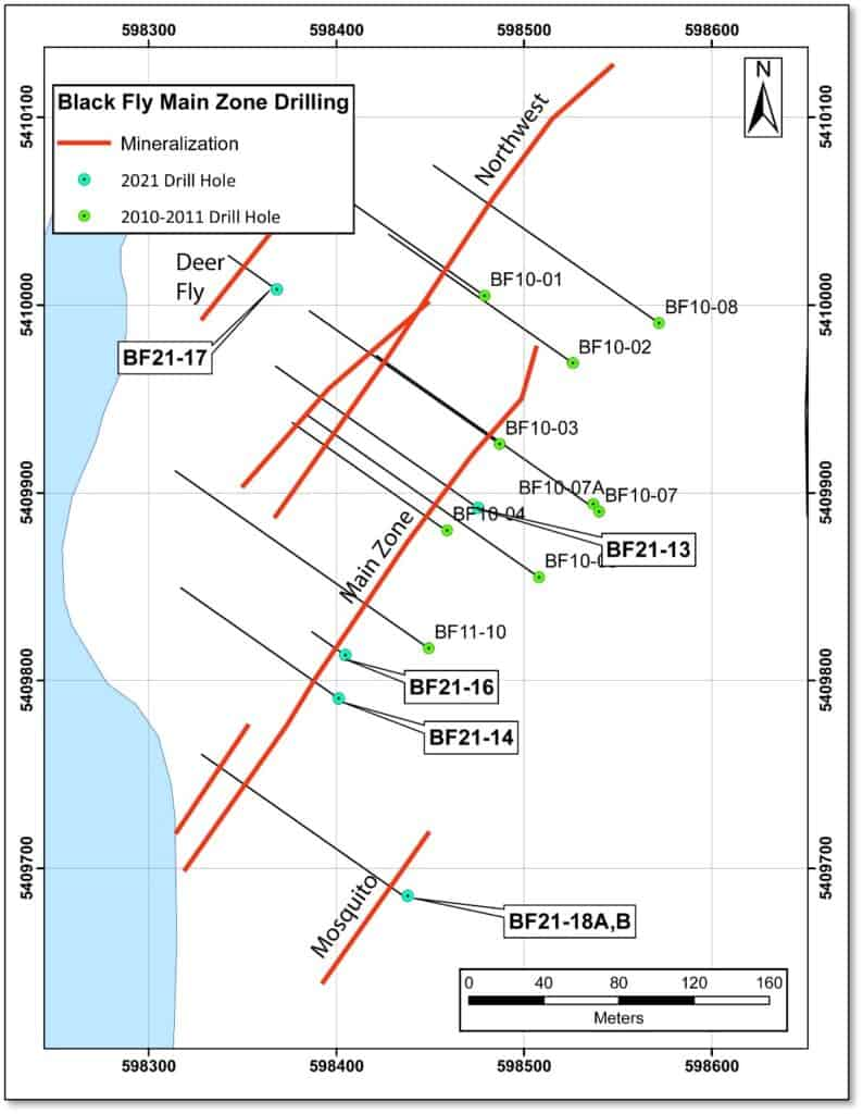 Drill plan location of the 2021 and historical drilling Blackfly Gold Project.