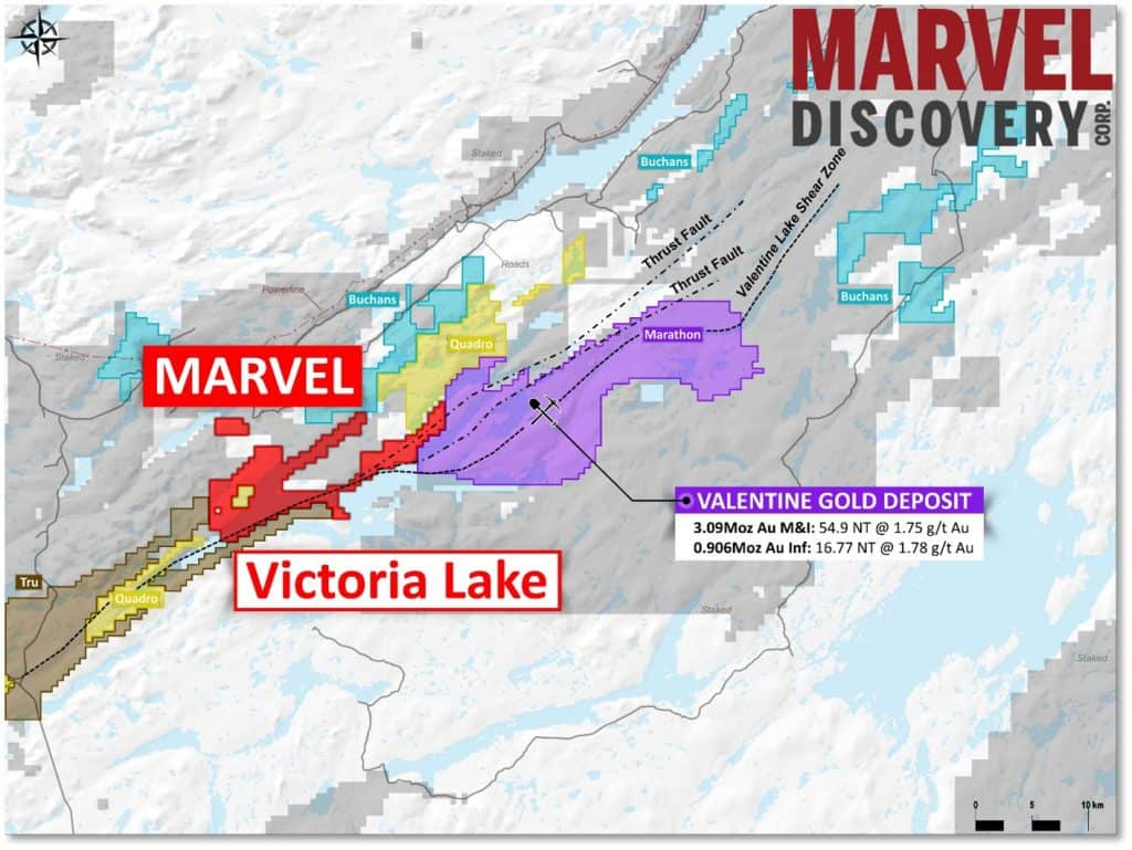 Location of Marvels Victoria Lake Gold Project