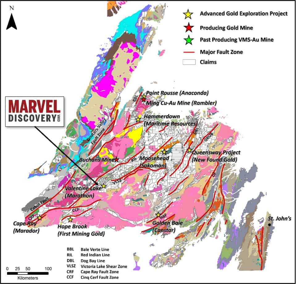 Regional geological and structural location of the Victoria Lake Gold Project.